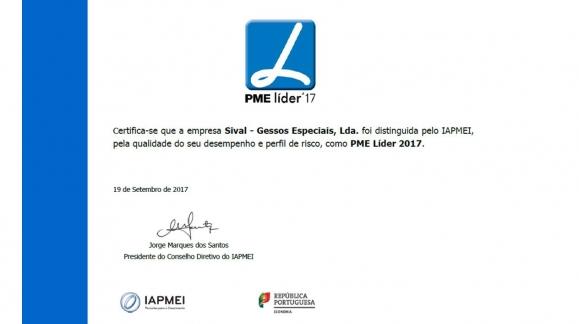 SIVAL - GESSOS ESPECIAIS VOLTA A SER DISTINGUIDA PELO IAPMEI COMO PME LÍDER 2017